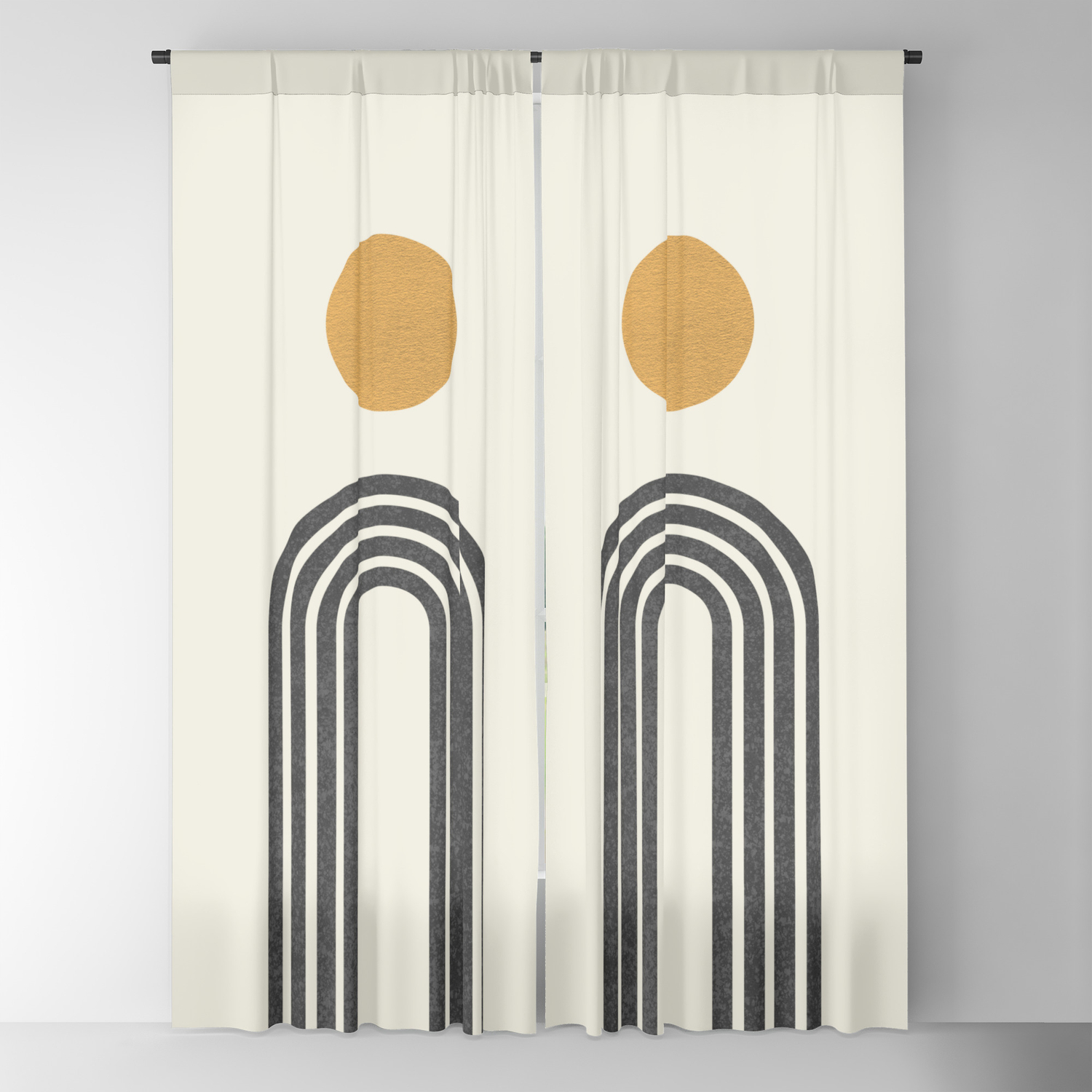 Image of: Mid Century Modern Gold Blackout Curtain By Moonlightprint Society6