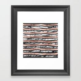 Elegant Black White Marble Rose Gold Brushstrokes Framed Art Print