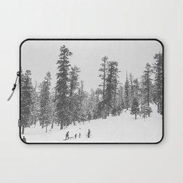 Sledding // Snowday Winter Sled Hill Black and White Landscape Photography Ski Vibes Laptop Sleeve