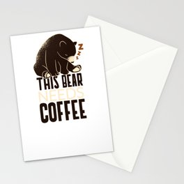 This Bear Needs Coffee Caffeine Lover Stationery Cards