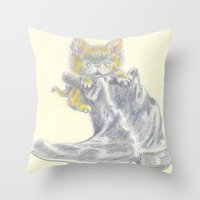 mew Throw Pillows featuring Mew by Connie Campbell