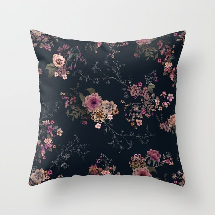 Japanese Boho Floral Throw Pillow By Caseysaccomanno