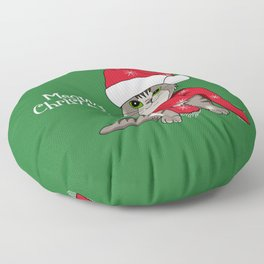 Cat Lover's Meowy Christmas Santa Cat With Green Background Floor Pillow