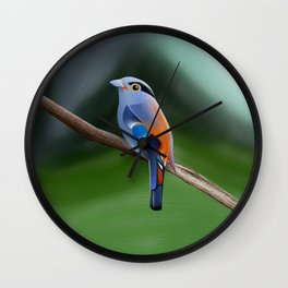 Silver-breasted broadbill Bird Wall Clock