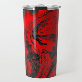 Black & Red Marble Travel Mug