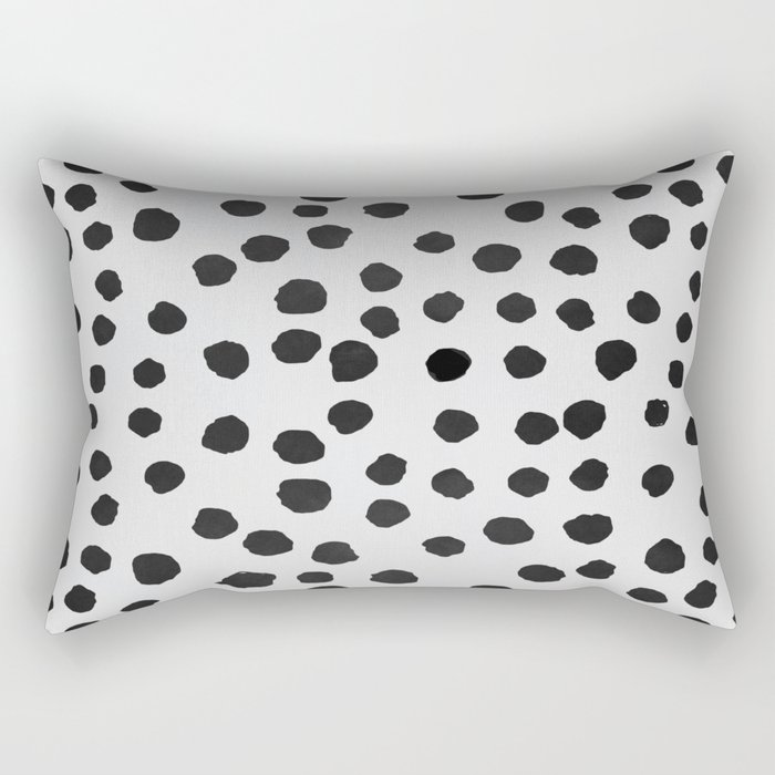 watercolor black polka dots Rectangular Pillow