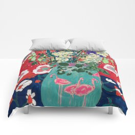 Wild Flowers in Flamingo Vase Floral Painting Comforters