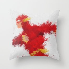 The Scarlet Speedster Throw Pillow