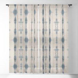 Linear Indigo Shibori Sheer Curtain