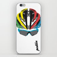cycling iPhone & iPod Skins featuring Cycling Face by Pedlin