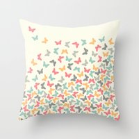 butterflies Throw Pillows featuring Butterflies by Juste Pixx Designs