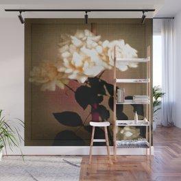 Weiße Rosen auf Leinen. Wall Mural