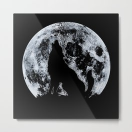 Wolf And Moon Metal Print