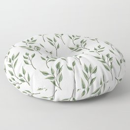 Green leaf sprig pattern Floor Pillow