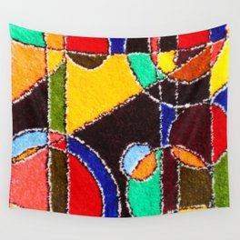 A carpet with an abstract pattern made by hands. Wall Tapestry