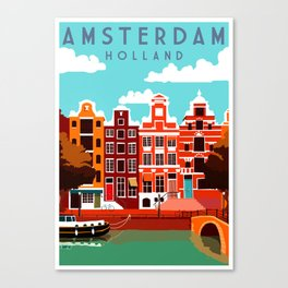 Vintage Amsterdam Holland Travel Canvas Print