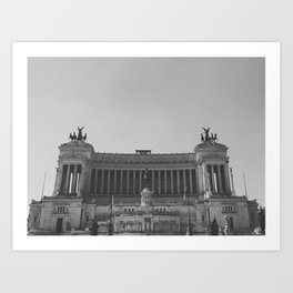 Black & white photo, Victor Emmanuel II Monument, Altar of the Fatherland, Rome photography Art Print