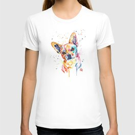 Chihuahua - Tucker - Colorful Watercolor Pet Portrait Painting T-shirt