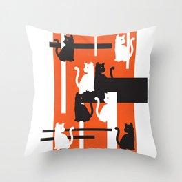 Cat in De Stijl - Halloween Edition Throw Pillow