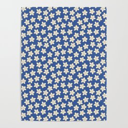 Simple Cream Floral Pattern on Blue Poster