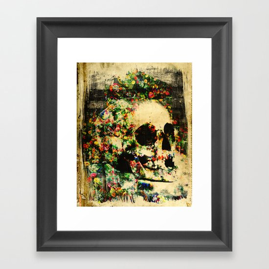 floral skully 2 Framed Art Print