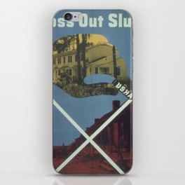 Vintage poster - Cross Out Slums iPhone Skin