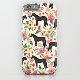 Black Horse Floral - cream, black beauty, horse, arabian horse, florals, floral, horse blanket, iPhone Case