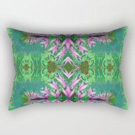 Futuristic Floral in Spring Green and Fresh Bloom Rectangular Pillow
