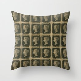 Penny Black Postage Throw Pillow