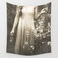 woodstock Wall Tapestries featuring Flower Child 2 Black and White by Olivia Joy StClaire