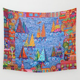 Regatta Town for the Home Wall Tapestry