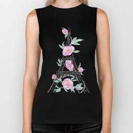 Eiffel tower and peonies Biker Tank