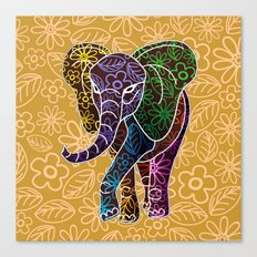 Elephant Floral Batik Art Design Canvas Print