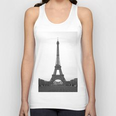 Eiffel Tower in black and white Unisex Tank Top