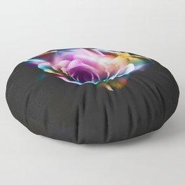Tie Dye Colorful Rose Floor Pillow