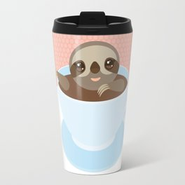 Sloth in a blue cup coffee, tea, Three-toed slot Travel Mug