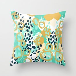 Silas - abstract print in mint, green, mustard navy Throw Pillow