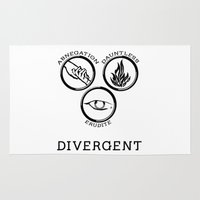 divergent Area & Throw Rugs featuring Divergent (Black) by Lunil