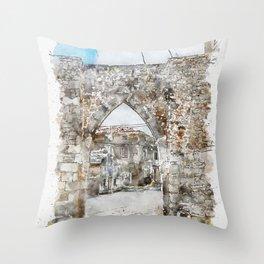 Aquarelle sketch art. Beautiful ancient stone buildings in Istria, Croatia Throw Pillow