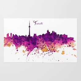 Toronto Watercolor Skyline Rug