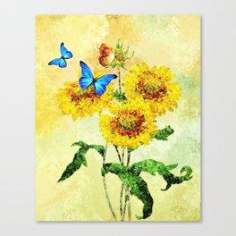 Blue Butterflies on Sunflowers (Color) Canvas Print