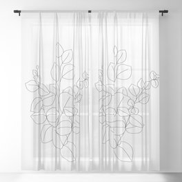 Minimalistic Eucalyptus  Line Art Sheer Curtain