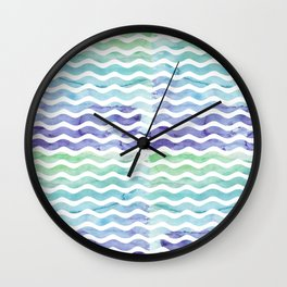 Modern teal blue watercolor hand painted waves Wall Clock