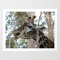 """Eating is my thing!"" -Happy Giraffe Art Print"
