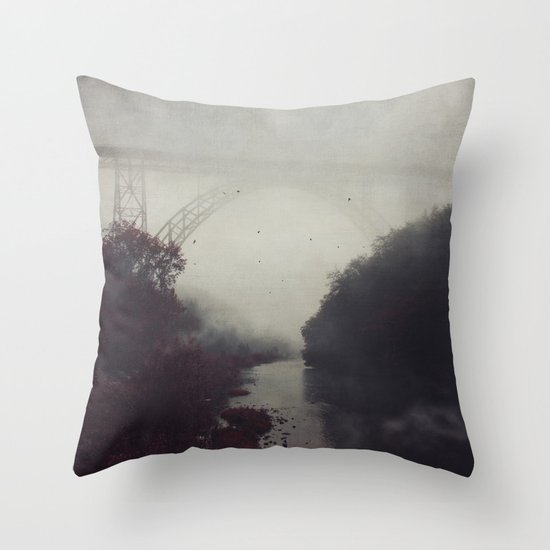 Bridge and River in Fog Throw Pillow