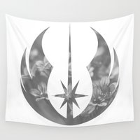 jedi Wall Tapestries featuring Gray Floral Jedi Order on White by foreverwars
