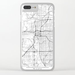 Tulsa Map White Clear iPhone Case