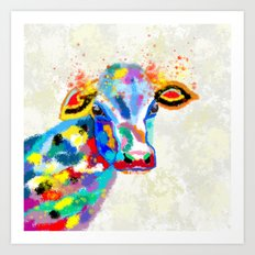 Colorful Cow Art Art Print