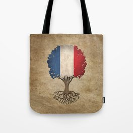 Vintage Tree of Life with Flag of France Tote Bag