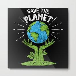 Retro Vintage Save Our Planet Plant Tree Earth Day Metal Print